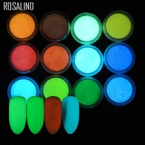ROSALIND 1PCS Nail Art Glitter Phosphor Luminous Powder Coating Polishing Fluorescent powder