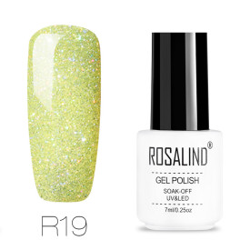 Rosalind Rainbow Glitter Nail Gel Holographic Chrome Pigment UV Gel Polish 7ML