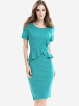 Womens Business Dress Work Office Pencil Ruffles Solid Color Knee Length Midi Dress With Sleeves