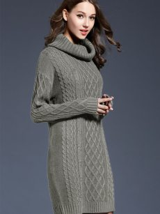 Vinfemass High Neck Solid Color Plus Size Long Sweater Dress
