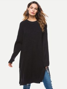 Vinfemass Solid Color Loose Slit Side Sweater Dress