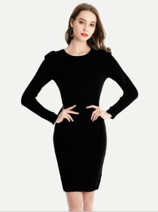 Vinfemass Solid Color Basic Style Sweater Dress