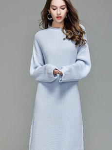 Vinfemass Solid Color Lace Up Loose Sweater Dress