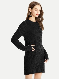 Vinfemass Solid Color Knitted Slim Sweater Dress