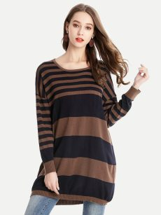 Vinfemass Stripe Printed Color Knitted Slim Sweater Dress