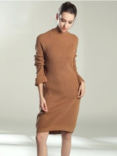Vinfemass Solid Color Knitted Loose Sweater Dress