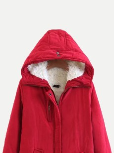 Vinfemass Solid Pockets Front Hooded Thick Cotton Padded Coat