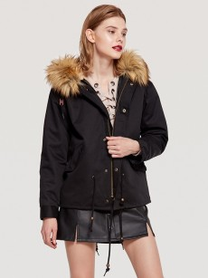 Vinfemass Solid Color Thick Fur Collar Hooded Short Cotton Padded Coat