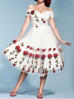 Lace Cocktail Embroidery Flowers Midi Swing Dress