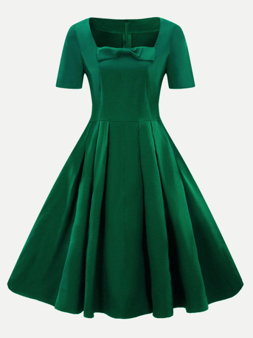 Vinfemass Square Collar Bowknot Front Plus Size Skater Dress