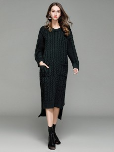 Vinfemass Loose Knitted Irregular Hem Jumper Sweater Dress
