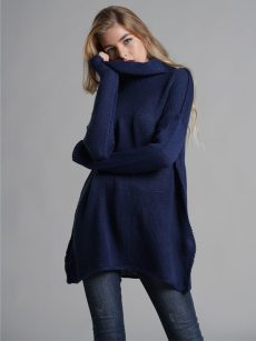 Vinfemass Solid High Neck Loose Knitted Jumper