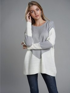 Vinfemass Patchwork Color Block Loose Knitted Jumper