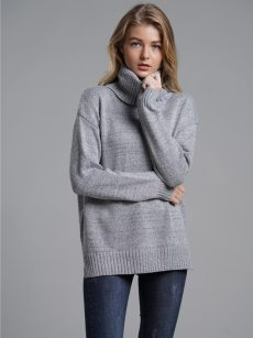 Vinfemass Solid Color High Neck Loose Knitted Jumper
