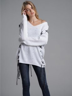 Vinfemass Solid V-neck Threads Decor Knitted Loose Jumper