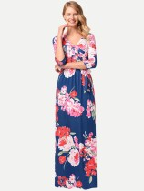 Womens Sexy Bohemian Dress V Neck Floral Print Maxi Long Beach Dress With Sleeves
