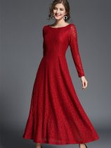Long Sleeve Elegant Lace Long Evening Dress