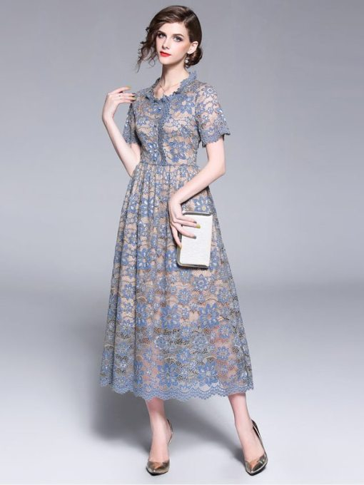 Lace Collar Solid Short Sleeve Long Evening Dress