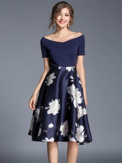 V-neck Slim Floral Printing Party Dress