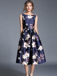 Vinfemass Sleeveless Floral Printing Long Party Dress
