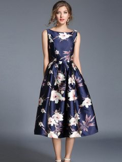Sleeveless Floral Printing Long Party Dress