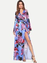Womens Floral Print Dress V Neck Slit Long Sleeve Maxi Long Dress With Lacing