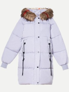 Vinfemass Thick Loose Oversized Hooded Fur Collar Long Cotton Padded Coat