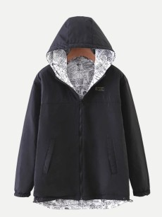 Vinfemass Solid Color Thin Hooded Short Cotton Padded Coat