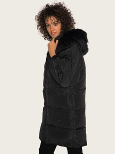 Vinfemass Thick Oversized Long Hooded Detachable Fur Collar Cotton Padded Coat