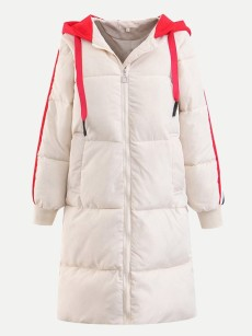 Color Block Hooded Long Puffer Coat Jacket