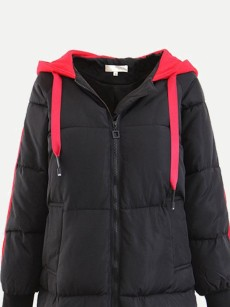 Vinfemass Thick Plus Size Hooded Long Cotton Padded Coat