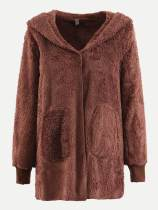 Vinfemass Solid Color Plush Hooded Coat