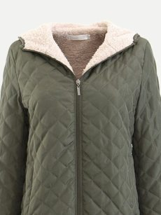 Vinfemass Berber Fleece Hooded Solid Color Long Cotton Padded Coat