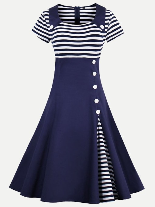 Vinfemass Square Collar Stripe Printing Plus Size Skater Dress