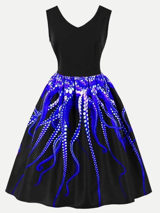 Vinfemass Retro V-neck Octopus Printed Plus Size Skater Dress