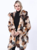 (Free Express Shipping)Vinfemass Thick Multicolor Hooded Faux Fox Fur Long Coat