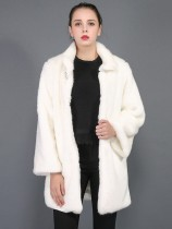 Vinfemass Solid Stand Collar Faux Raccoon Fur Long Coat