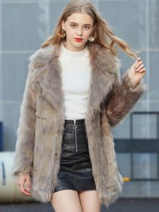 Vinfemass Solid Color Lapel Thick Long Faux Fox Fur Coat
