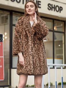 (Free Express Shipping)Vinfemass Loose Thick Leopard Lapel Faux Rabbit Fur Coat