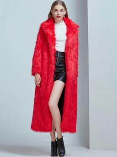 (Free Express Shipping)Vinfemass Thick Solid Color V-neck Extra Long Faux Fox Fur Coat