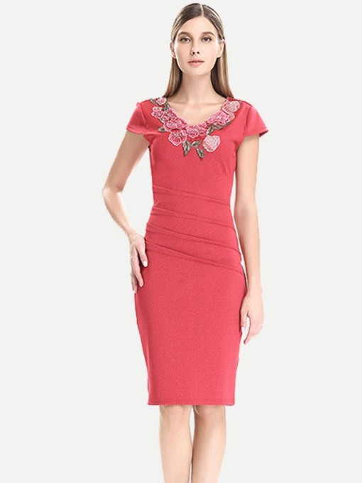 Womens Business Dress Work Office Pencil V Neck Solid Color Embroidery Flowers Pleated Knee Length Midi Dress With Sleeves