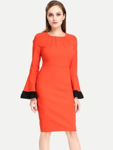 Womens Business Dress Work Office Pencil Trumpet Long Sleeve Solid Color Pleated Knee Length Midi Dress