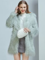 Vinfemass Thick Solid Color Long Faux Rabbit Fur Coat
