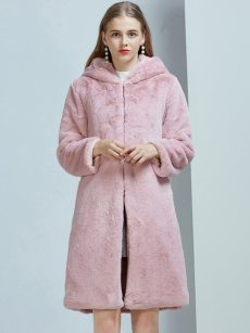 Vinfemass Thick Hooded Solid Color Faux Rabbit Fur Long Coat