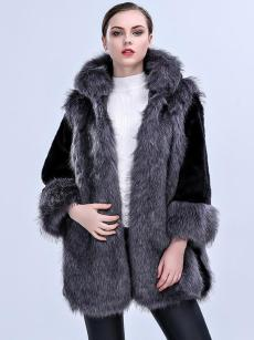 (Free Express Shipping)Vinfemass Color Block Hooded Thick Long Faux Fox Fur Coat