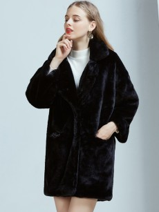 Vinfemass Thick Solid Color Lapel Long Faux Rabbit Fur Loose Coat