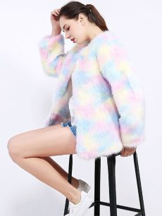 Vinfemass Multicolor Thick Faux Mink Fur Short Coat