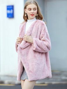 Vinfemass Solid Color Lapel Loose Thick Faux Rabbit Fur Long Coat