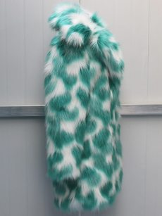 (Free Express Shipping)Vinfemass Thick Color Block Lapel Long Faux Fox Fur Coat