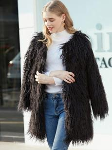 Vinfemass Solid Color Long Faux Rabbit Fur Coat
